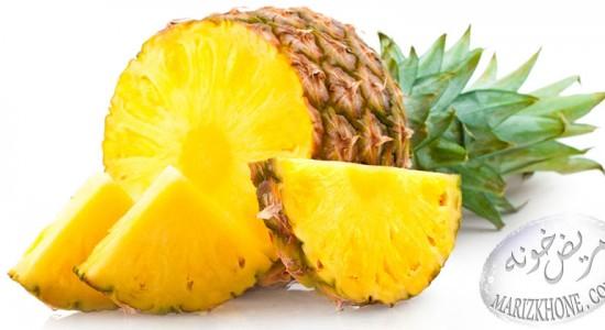 آناناس-خواص دارويي آناناس-Ananas-Ananas comosus-ويتامين ها-کلسترول-پتاسيم-کلسيم-آهن-فسفر-گوگرد-منگنز-اسيد سيتريک-بروملين-بروملائين-خارش گلو-التهاب مفاصل-آنتي اکسيدان-ويتامين هاي گروه B-تقويت بينايي چشم-کمپوت آناناس-ترش-قند-بيماران مبتلا به قند