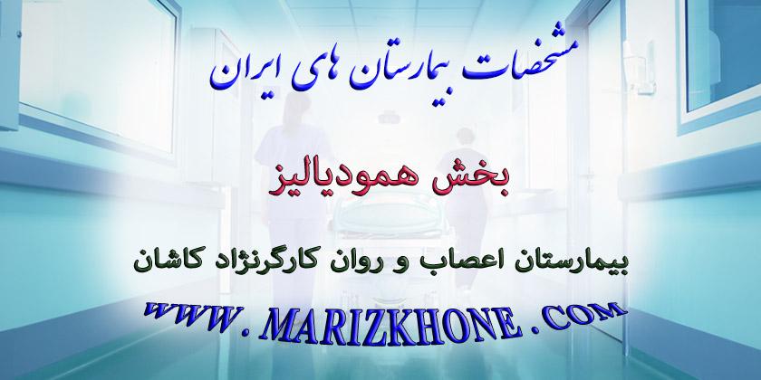 خدمات بخش همودیالیز بیمارستان اعصاب و روان کارگرنژاد كاشان